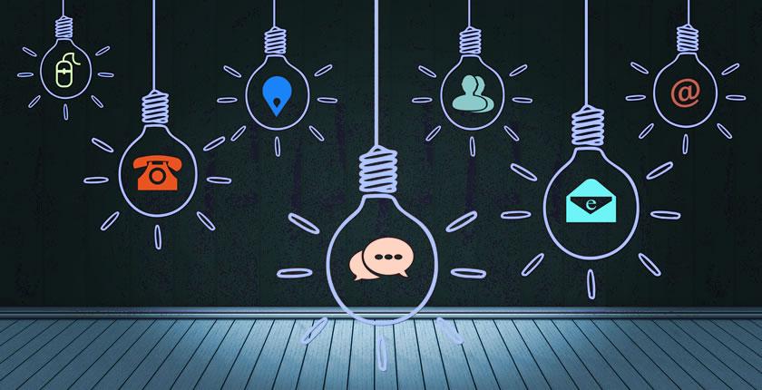 Lightbulbs with ideas inside