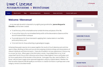 Lynne C. Levesque home page screenshot