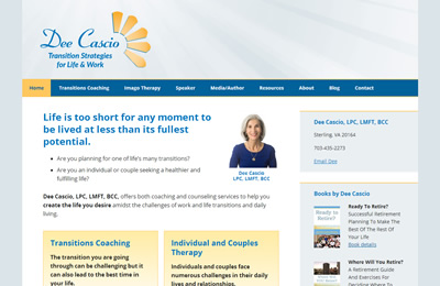 Dee Cascio Home page screenshot