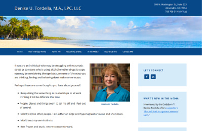 Denise Tordella after redesign screenshot