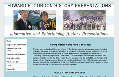 Edward E. Gordon History Presentations website before redesign