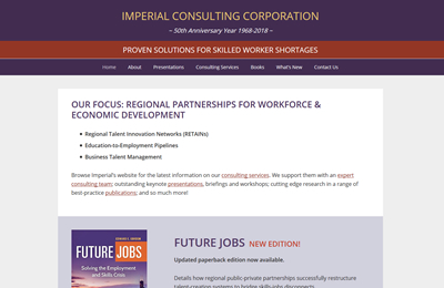 Imperial Consulting Corporation screenshot after redesign