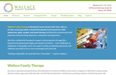 Wallace Family Therapy home page screenshot