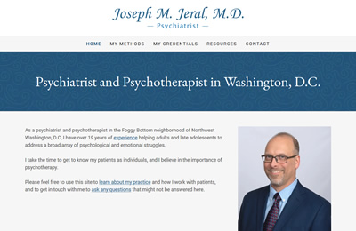 Joseph Jeral home page screen shot