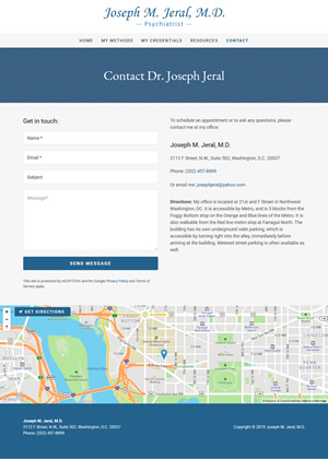 Joseph Jeral contact page screen shot